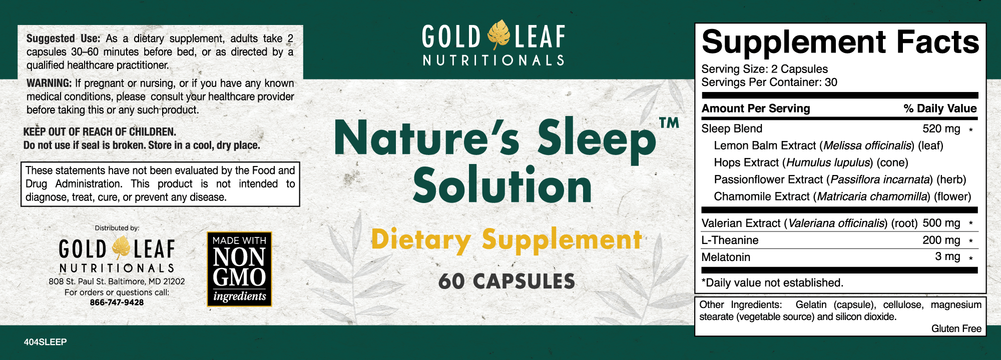 view the sleep solution label - Natures Sleep